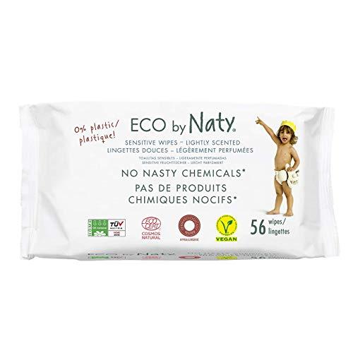 Eco by Naty, Salviettine Leggermente Profumate per Neonato, 672 salviettine (12 confezioni da 56), Salviette Compostabili a Base Vegetale con lo 0% di plastica. Senza sostanze chimiche nocive