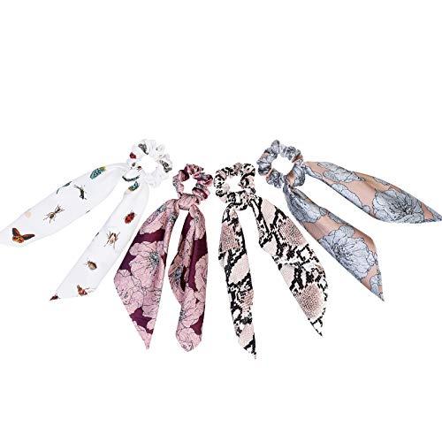 WELROG Scrunchies della sciarpa - Nastri per Capelli Donne Ragazze Elastica Cerchietto Corda floreale Capelli bobbles Accessori (Miscelazione del colore 3)