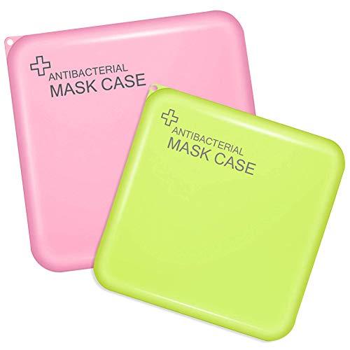 BESLIME 2 Pezzi di Scatola di plastica, Scatola di immagazzinaggio Portatile, Scatola di immagazzinaggio Portatile (con Coperchio), Custodia per Accessori per Il Viso (Rosa e Verde)