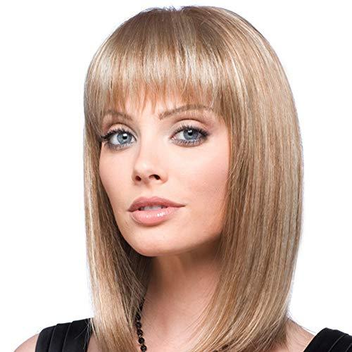 Emmor parrucche di capelli umani biondi naturali per donna parrucca bob lunghezza spalla miscela con fibra kanekalon sana con frangia dritta, uso quotidiano (colore 30/613) (bionda)