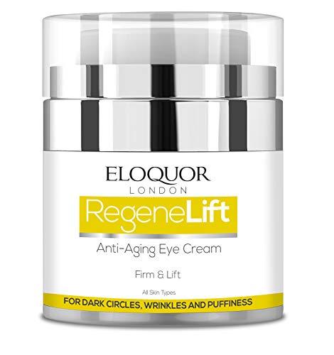 Eloquor RegeneLift Crema contorno occhi anti-invecchiamento con acido ialuronico e vitamine per rughe, linee sottili, occhiaie, gonfiore e pelle sensibile, naturale, biologica e cruelty free