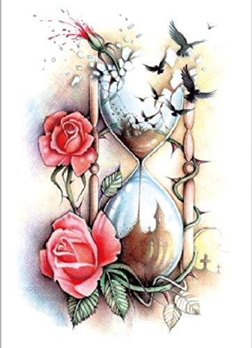 Clessidra Fiore Di Uccello Tatuaggi Temporanei Impermeabili Adesivi Body Art Finti Trasferimento Per Spalle Torace Gambe Posteriori Festival Moda Arte 21X15Cm 5 Pcs