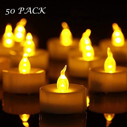 YHY Candele a LED 50pcs Lumini da Tè Tealight Elettrica Luce Calda Senza Fiamme con Batterie Adatte per Decorazione di Casa, Compleanno, Matrimonio, Natale, Halloween ecc