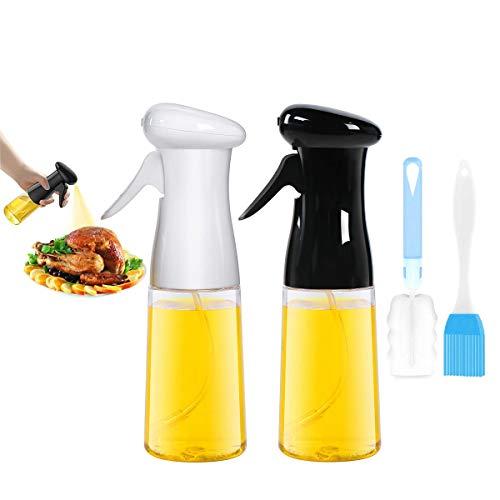 CBGGQ 2 Pezzi Spruzzatore di Olio, Spruzzatore di Olio/Aceto/Olive Oil 7 Oz / 210 ml per Cucina, bottiglia spray per BBQ, Cucinare, barbecue, forno, grigliare, insalata, con spazzole (Nero+Bianca)