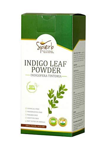Spierb Indigo Polvere 250gm - per capelli da utilizzare con Henna Powder per Capelli Neri - Naturale Indigo Polvere Hair Dye - 100% Pure Indigofera tinctoria