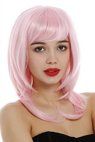 WIG ME UP-3003-T2333 Parrucca Donna Altezza spalle Lunghezza media Scalata Liscia Punte sfilate Rosa Rosa chiaro