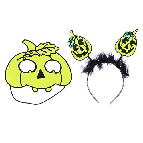 Amosfun Costumi di Halloween Fascia Maschera di Halloween Floccaggio Zucca con Foglia Cerchio per Capelli Maschera Divertente Fascia di Zucca per Halloween Bomboniere Regali di Halloween