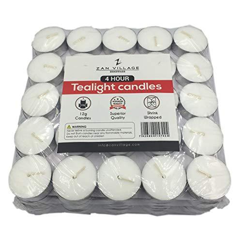 Zan Village Homeware Candele tealight, 4 ore di durata, 12 g, confezione da 100 pezzi sigillata con pellicola termoretraibile