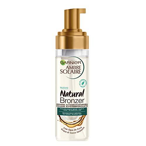 Garnier Ambre Solaire Natural Bronzer, Mousse Autoabbronzante, Arricchita con Acqua di Cocco Idratante, Formula Vegana, 200 ml