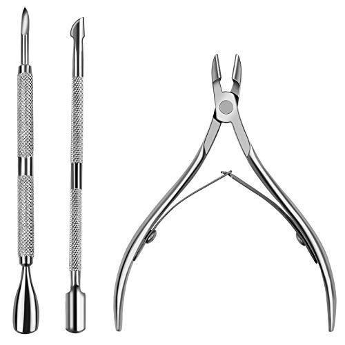 HNYYZL - Pinza per cuticole professionale in acciaio INOX con doppia molla e 2 spingicuticole per unghie, strumento durevole per manicure e pedicure, per unghie dei piedi