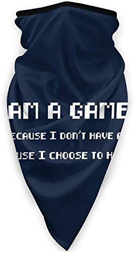 Lawenp I Am A Gamer Quote Pixel White Font Face Bandane con sciarpa per polvere, all'aperto, festival, sport