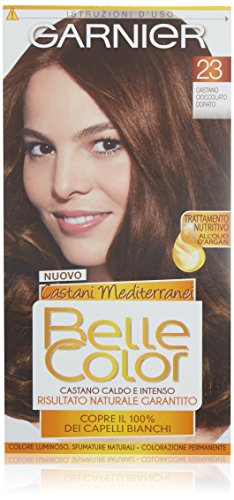 Garnier Colorazione Permanente per Capelli Belle Color, Risultato Naturale e Luminoso, 23 Castano Cioccolato Dorato
