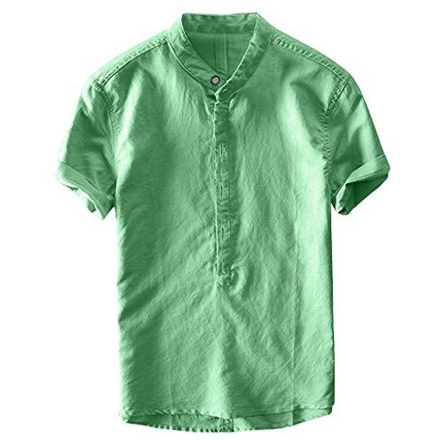 Xmiral Camicia Cool e Sottile Collo Traspirante Appeso Tinto Gradiente Estivo Uomo (M,4- Verde)