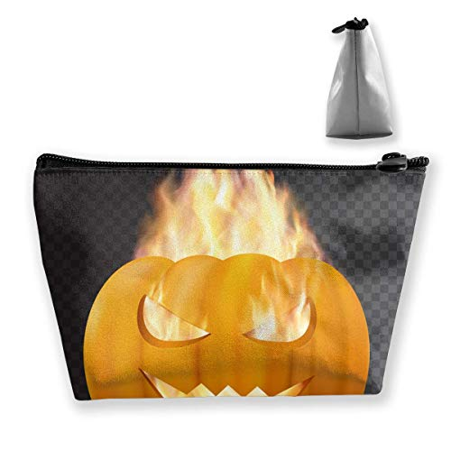 Halloween Pumpkin In Fire Waterproof Trapezoidal Bag Cosmetic Bags Makeup Bag Large Travel Toiletry Pouch Portable Storage Pencil Holders
