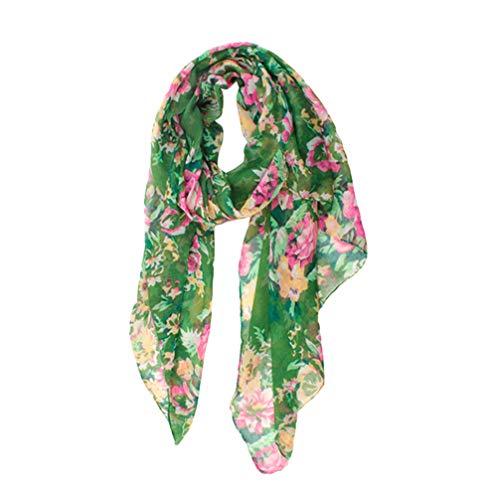 LIOOBO sciarpe in chiffon donna motivo floreale sciarpa di seta moda leggera avvolgere la testa bandana scialli protezione solare per le ragazze delle ragazze (verde)
