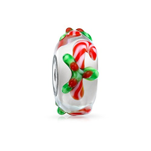 Bling Jewelry Christmas Red Candy Cane Peppermint Murano Glass 925 Sterling Silver Spacer Bead Fits European Charm Bracelet for Women
