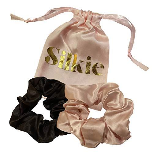 SILKIE x2 Set 100% Pura seta di gelso Mulberry Rosa Nero Grande Sovradimensionato Scrunchies Cravatte per capelli Elastici Cura dei capelli