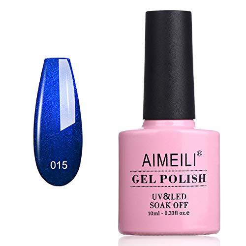 AIMEILI Smalto Semipermente per Unghie in Gel UV LED Smalti Colorati Gel per Manicure Blu Gel Polish - Midnight Swim (015) 10ml
