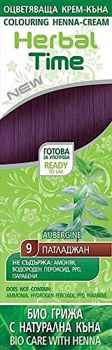 Crema colorante per capelli con estratto di Henné e Ortica - Colore Melanzana 9, Senza Ammoniaca, Senza Solfato, Senza Parabeni