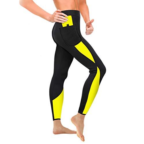 WABISABI DREAMS Pantaloni in neoprene per sauna, leggings riducenti dimagranti anticellulite, vita alta, collant push-up fitness per un'efficace sudorazione in fitness NERO GIALLO BAND (XL)