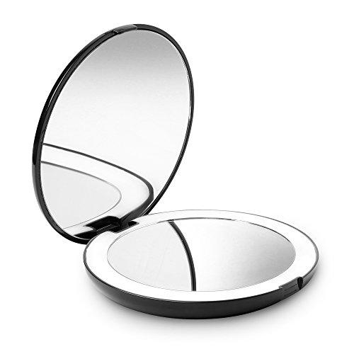 Fancii Specchio Ingranditore Tascabile Illuminato per Trucco, Normale e 10X - Grande Diametro Specchio Compatto Portatile da Borsetta con Luce a LED Naturale (Nero)