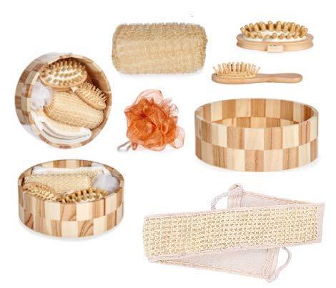 Cofanetto da bagno di lusso, set di 6 accessori: spazzola per massaggio anti-cellulite – spazzola per capelli in legno – cinghia di gomma – fiore da doccia – spugna Luffa – bella scatola in legno