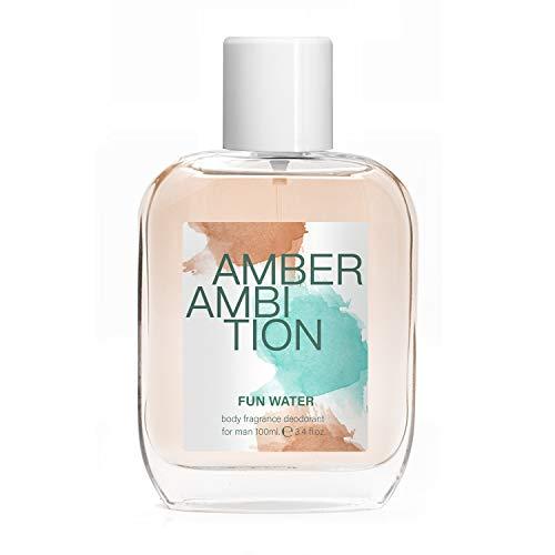Fun Water, Amber Ambition Deodorant Body Fragrance for Men, profumo da uomo, 100 ml, confezione da 2