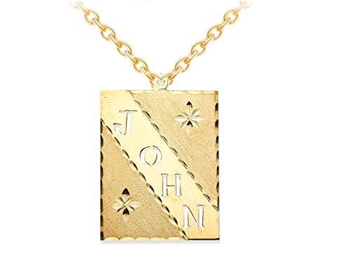 RYLOS Collane da donna in oro giallo o oro bianco 14 K con taglio a diamante, collana con targhetta con targhetta personalizzata