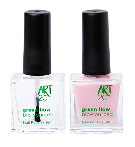 Art 2C, smalto per unghie vegan e bio 85% brevettato, ultra-puro, 2 x 9 ml - 1 Base/Top Coat + 1 colore pastello