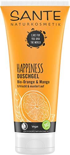 Sante - Gel doccia Happiness con cosmetici naturali, fragranza tropicale, idratazione intensa, si assorbe rapidamente, vegano, 200 ml