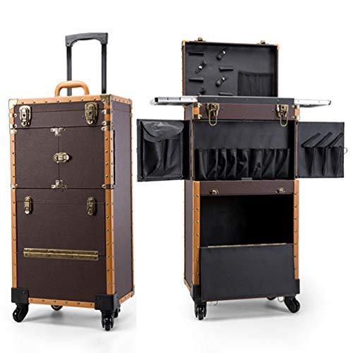 ZXCY Grande capacità Valigetta Trolley Bagagli su Ruote Beauty Case Multistrato Valigia dei Saloni Cassetta degli Attrezzi per Il Trucco da Viaggio per Salon Beauty Studio Parrucchiere,001
