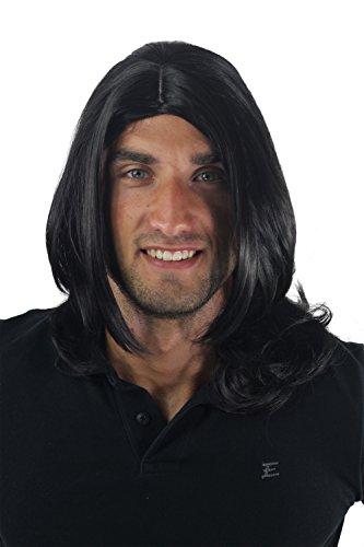 Wig Me Up - Parrucca Da Uomo, Lunga, Giovanile, Alla Moda,Colore Nero, Riga In Mezzo, Rockstar, Gfw891-1B