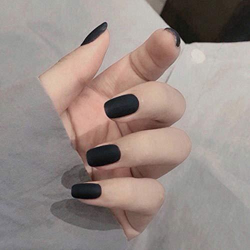 Handcess Unghie finte quadrate opache Ballerina nera Stampa su unghie Punta piena di colore puro Punte per unghie finte per donne e ragazze
