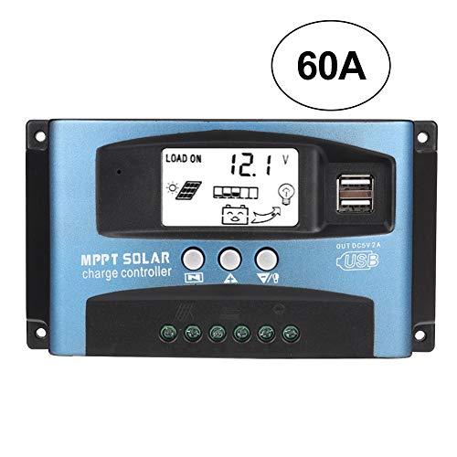 Regolatore di carica solare, regolatore di carica solare MPPT con chip master di livello industriale e ampio display LCD, gestione della carica a tre stadi e protezione multipla integrata(60A)