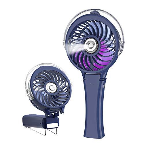 HandFan Ventilatore Portatile Mini Ventilatore Nebulizzatore USB Ventilatore Piccolo Personale 2000mah Batteria Ricaricabile Con Luce Notturna A Colori/Manico Pieghevole Per Ufficio/Viaggi/All' aperto