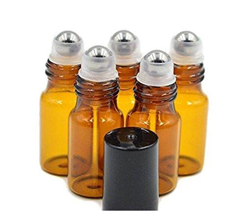 24 boccette da 5ml roll-on Bottles, color ambra, ricaricabile, con sfera in acciaio inossidabile, tappo nero, per oli essenziali, aromaterapia, profumi, lucidalabbra, balsami