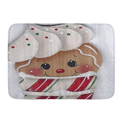 VINISATH Tappetini da Bagno per Bagno,Omino di Pan di Zenzero di Natale Gelato,Tappetinida Bagno Antiscivolo con Assorbente d'Acqua,Tappetino per Pediluvio Morbido