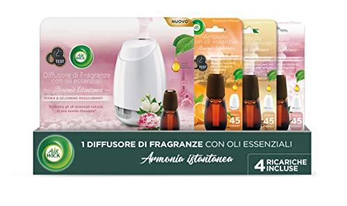 Air Wick Diffusore di Fragranza con Oli Essenziali – Kit con ricariche: 1 Gadget + 4 ricariche fragranza Vaniglia e Ciliegio, Peonia e Gelsomino, Mandarino e Arancia