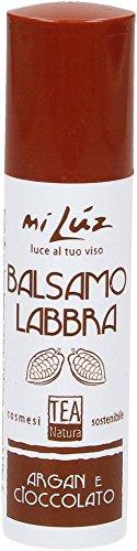 TEA NATURA - Balsamo Labbra Argan e Cioccolato - Cura delle Labbra con 100% Ingredienti Naturali - Profumo golosissimo - Vegan