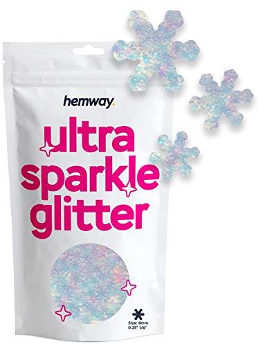 Hemway - Glitter ultra scintillanti, 1/8' 0,3 mm, 3 mm, con fiocco di neve, inverno, neve, autunno, per unghie, viso, arte, artigianato, decorazione, 50 g
