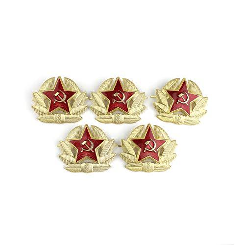 Heka Naturals Coccarda USSR Spilla Militare, Spilla Russa Sovietica Rimovibile, Coccarda in Metallo per Cappello Cosacco | Set di 5