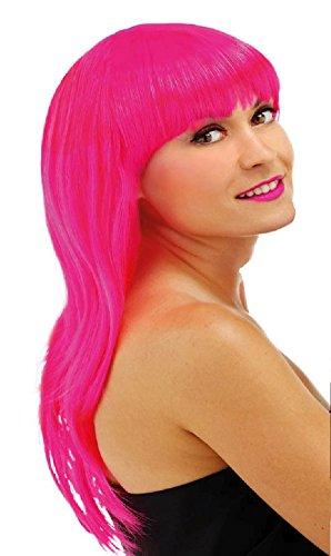 Parrucca capelli lunghi con frangetta rosa