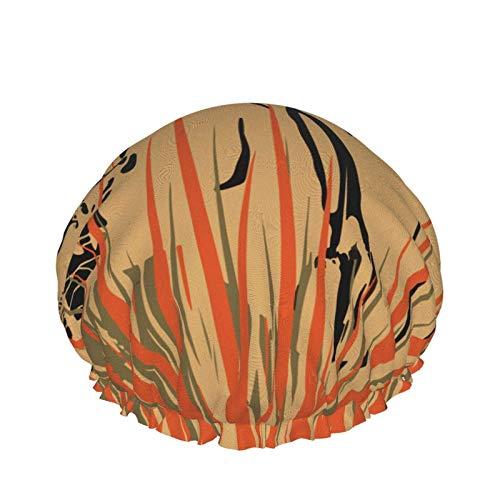 Cuffia da doccia Tiger Africa Animal, cuffia da bagno donna regolabile impermeabile a doppio strato alla moda Peva