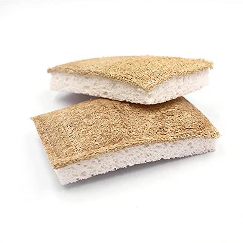 Luffa - Spugna da cucina sostenibile [set da 3 pezzi] – 100% biodegradabile, ecologica, lavabile, senza plastica