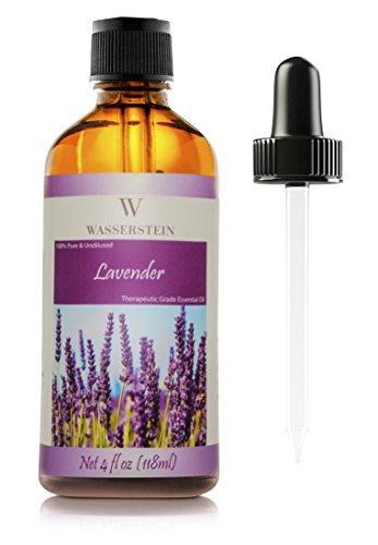 Olio essenziale alla lavanda (118 ml / 4 OZ) Aromaterapia Olio essenziale neutro puro al 100% (Lavandula Angustifolia) di Wasserstein (4oz Lavanda)