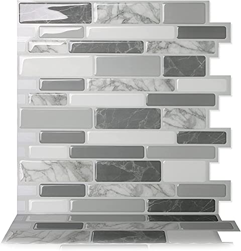 Tic Tac Tiles 30cm x 30cm 10 Pezzi 3D Piastrelle Mosaico Adesive Piastrelle Cucina, mattonelle adesive bagno- Mosaic Polito Bianca (Bianca; Marmo bianco; Beige Avorio)