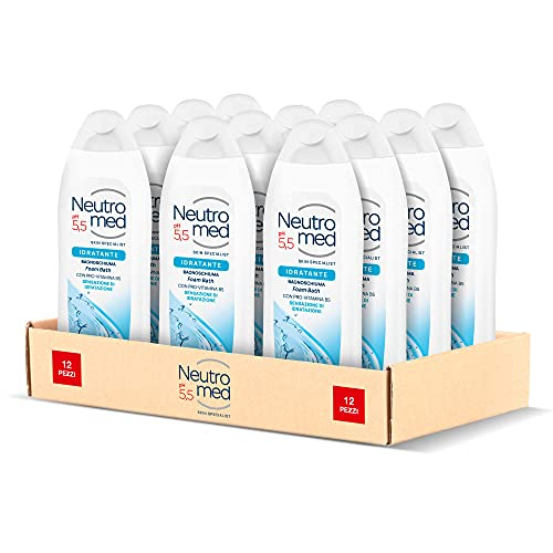 Neutromed, Bagnoschiuma Corpo Idratante, Con Pro-Vitamina B5, 12 pezzi x 600 ml