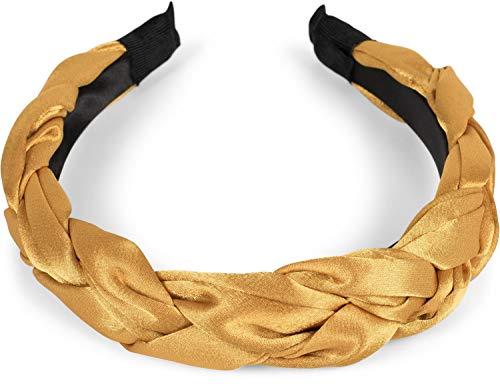 styleBREAKER Cerchietto per Capelli da Donna Intrecciato, Fascia per Capelli Stile Retro, Headband 04026045, Colore:Curry