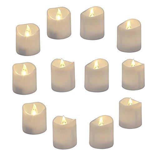 GrassVillage Confezione da 12 candele a LED realistiche e luminose, con design a onda, 3,5 cm x 4 cm di altezza, candele senza fiamma, finte, elettriche, in bianco caldo brillante e a onde aperte