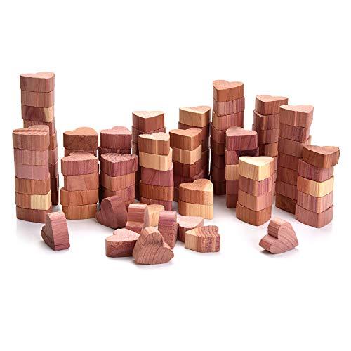 Yizhet 100 Antitarme Legno di Cedro Blocchi di Cedro a Forma di Cuore Legno di Cedro Combo Pack Antitarme Naturale in Legno di Cedro per Armadi e Cassetti